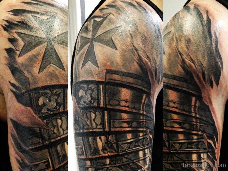 d50498e8a Elegant 3D Armor Tattoo On Sleeve