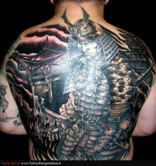 8054a0448 Fantastic Japanese Samurai In Steel Armor Tattoo On Full Back