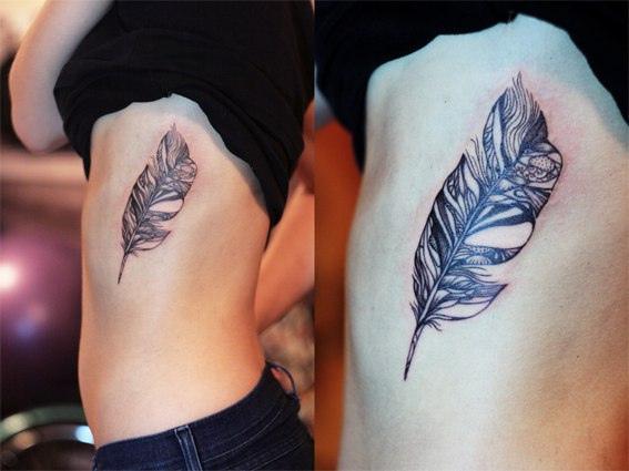 29 feather rib cage tattoos for Girl rib tattoo ideas