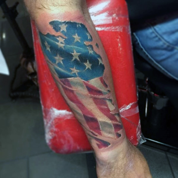 87dd739c9921a Forearm 3D American Flag Tattoo For Men