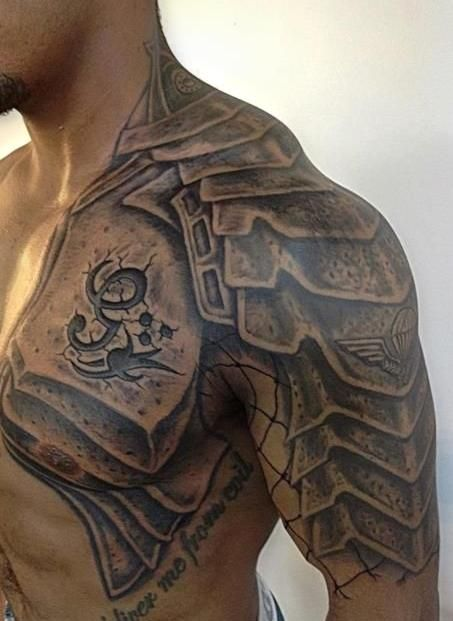 60 wonderful armor tattoos for Shoulder and chest tattoos