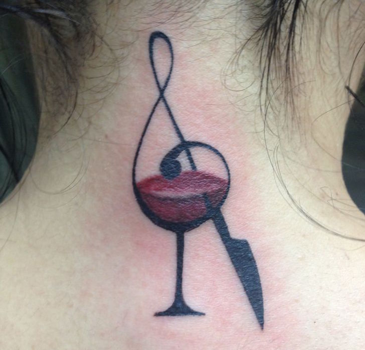 Glass Music Tattoo On Girl Nape