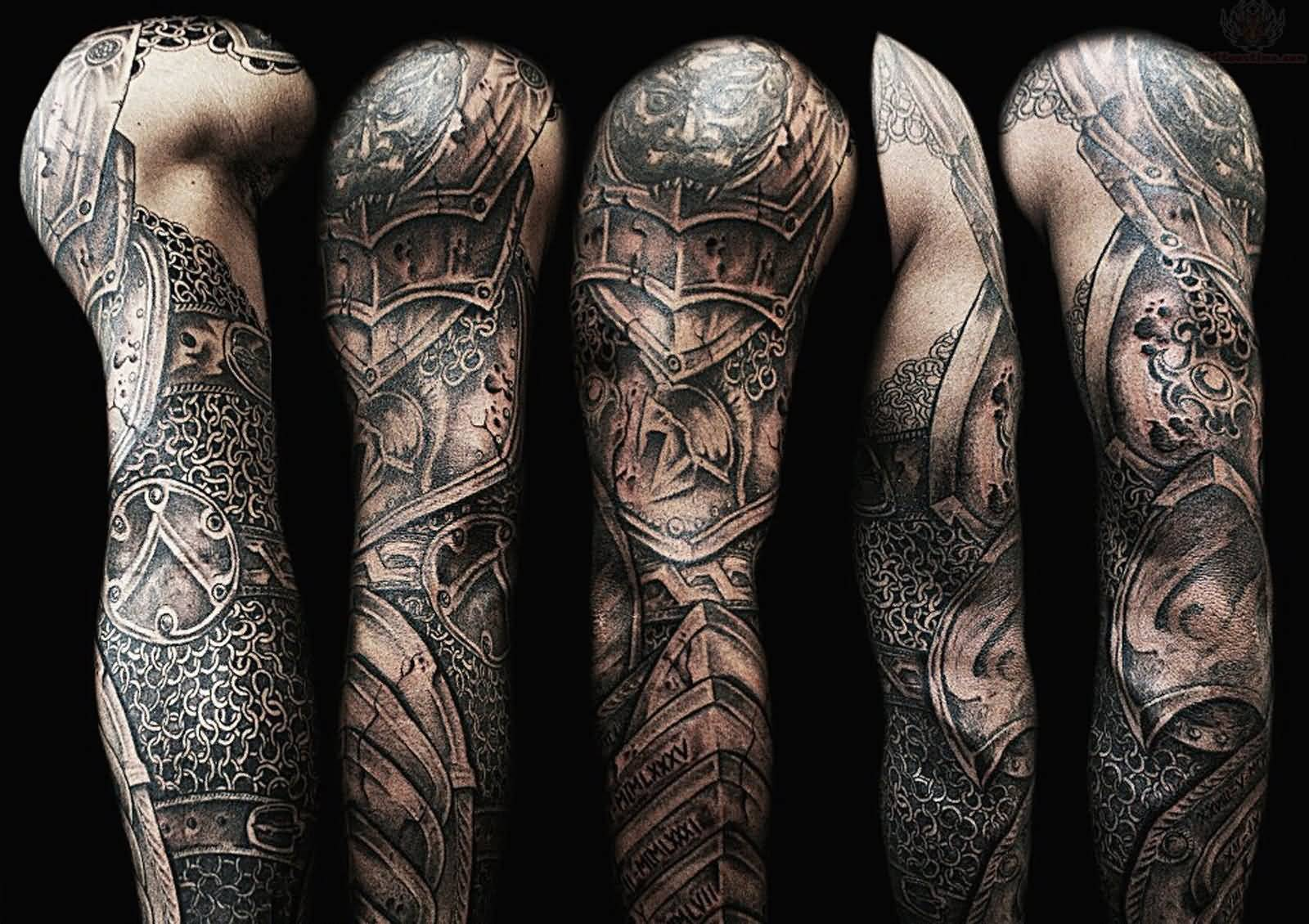 e9eebcf5d Grey Ink Armor Tattoo On Full Sleeve