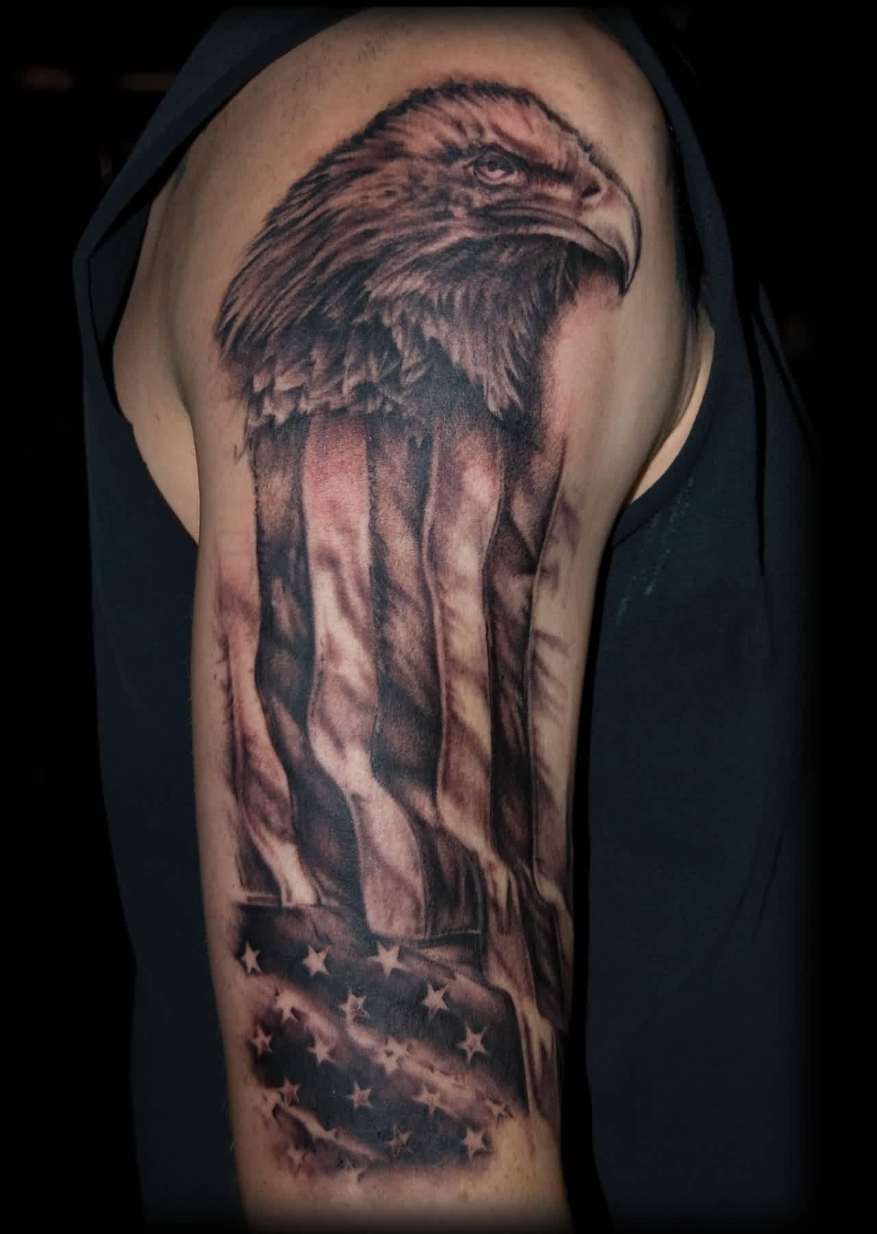 20 us flag tattoo designs for American flag eagle tattoo
