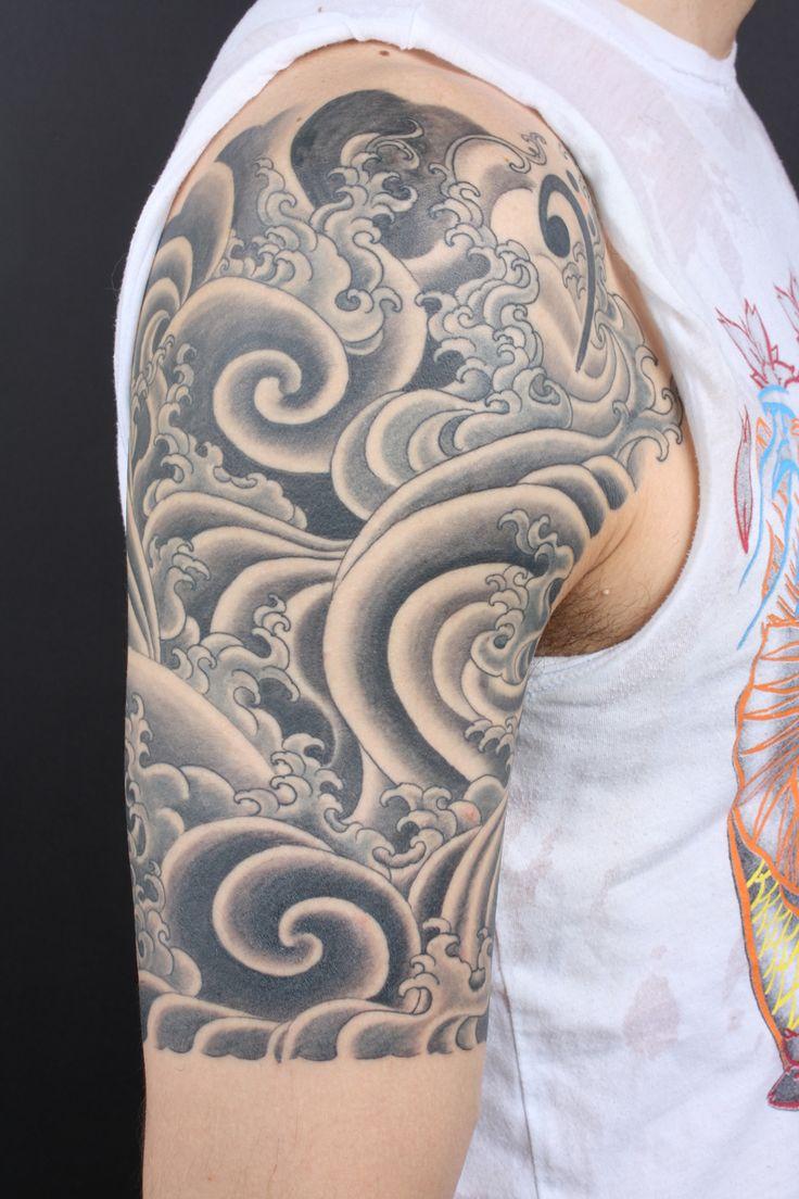 0eb92e419dd6b Grey Japanese Water Waves Tattoo On Half Sleeve