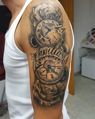 grey roses and clock tattoo on man left half sleeve by david torres. Black Bedroom Furniture Sets. Home Design Ideas
