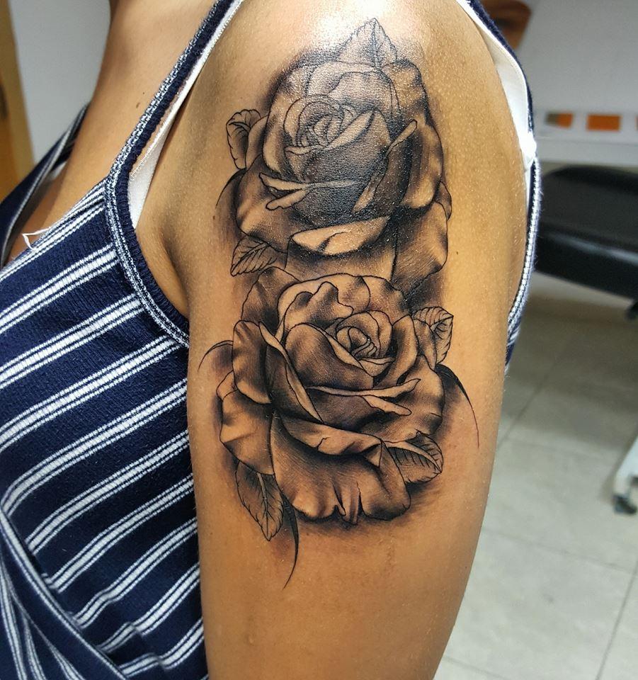Grey Roses Tattoos On Left Shoulder