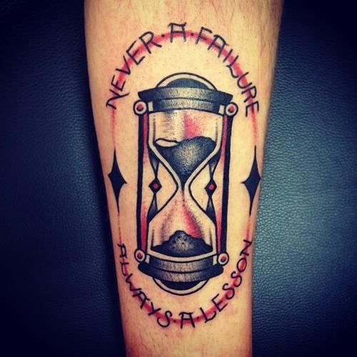 Red hourglass tattoo