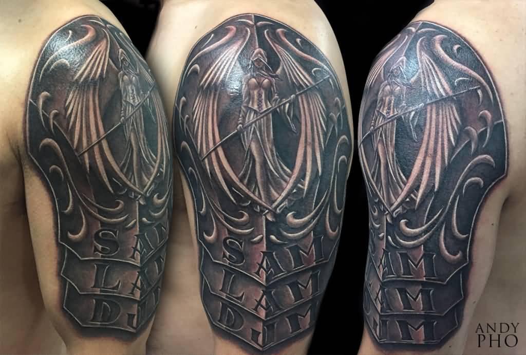 90705e38c Impressive Angel Armor Tattoo On Shoulder