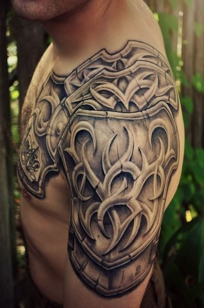 26 Armor Shoulder Knight Tattoo