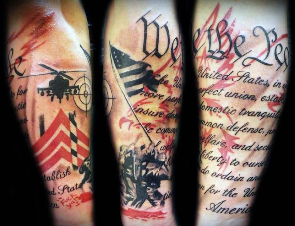 ed42189ca Inspiring Patriotic Tattoo On Arm Sleeve