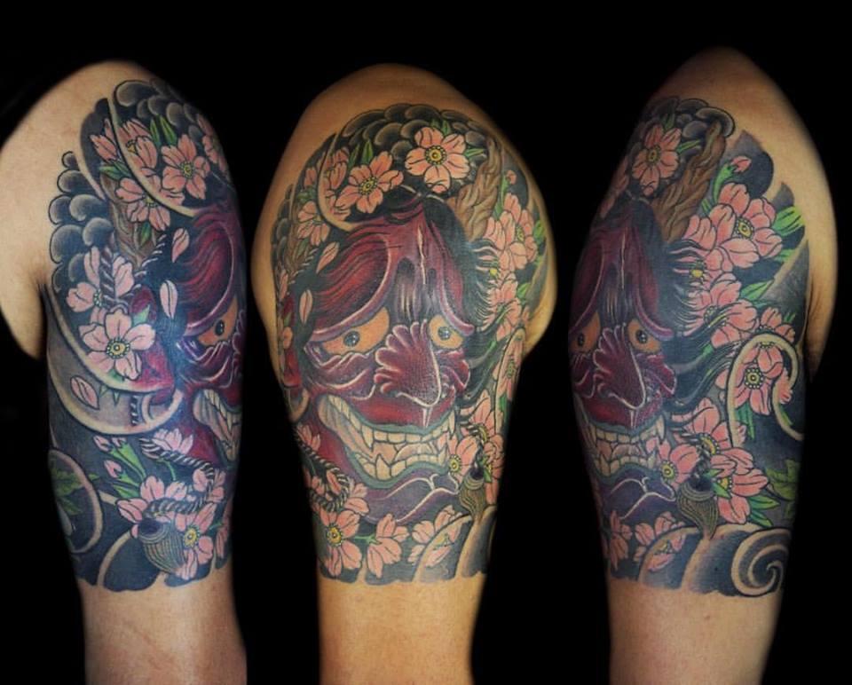 c62b20eebcae4 Japanese Hannya Tattoo On Left Half Sleeve by Northern Ink