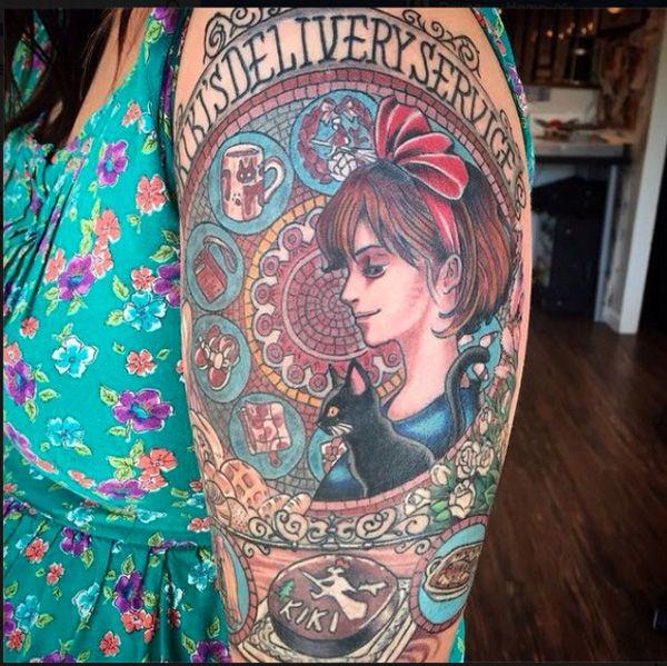 7 anime tattoos on half sleeve for Kiki tattoo artist