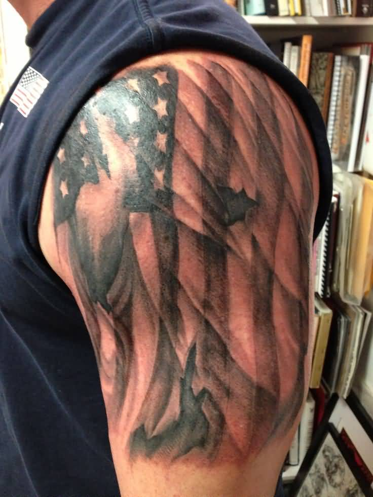 13 us flag tattoo on half sleeve for Patriotic tribal tattoos