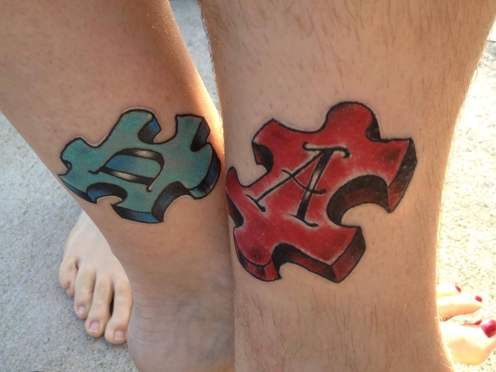 Letters puzzle colored tattoos for Puzzle piece tattoo ideas