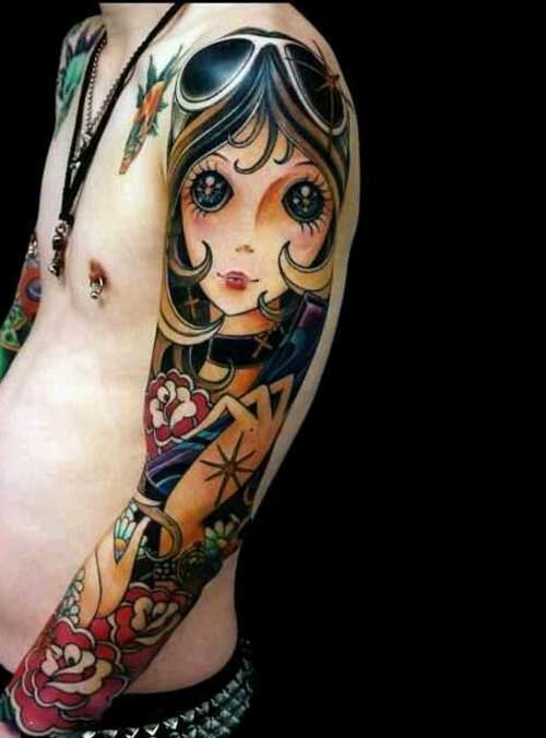Lovely Big Eyed Anime Girl Tattoo On Full Sleeve