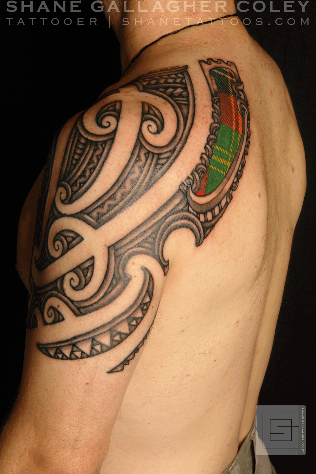 maori scottish tattoo on upper arm. Black Bedroom Furniture Sets. Home Design Ideas