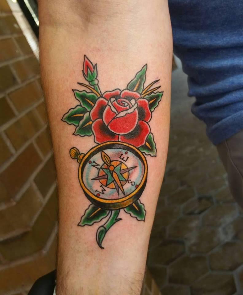 13 Compass Elbow Tattoos