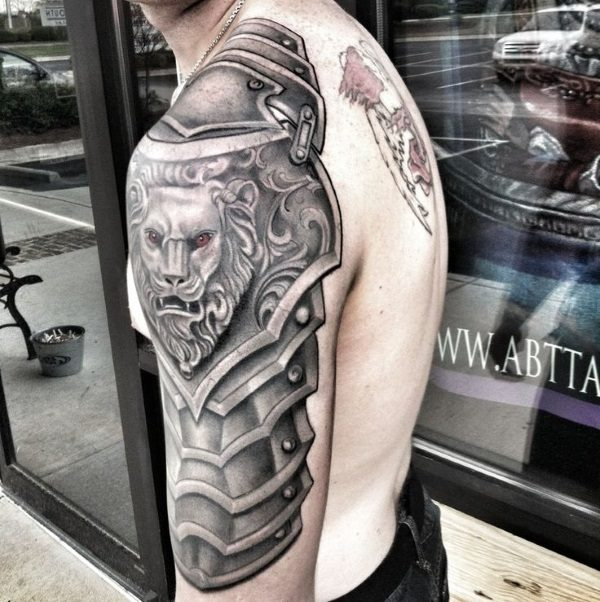 b9ac1611e369e Nice Lion Armor Tattoo On Half Sleeve For Men