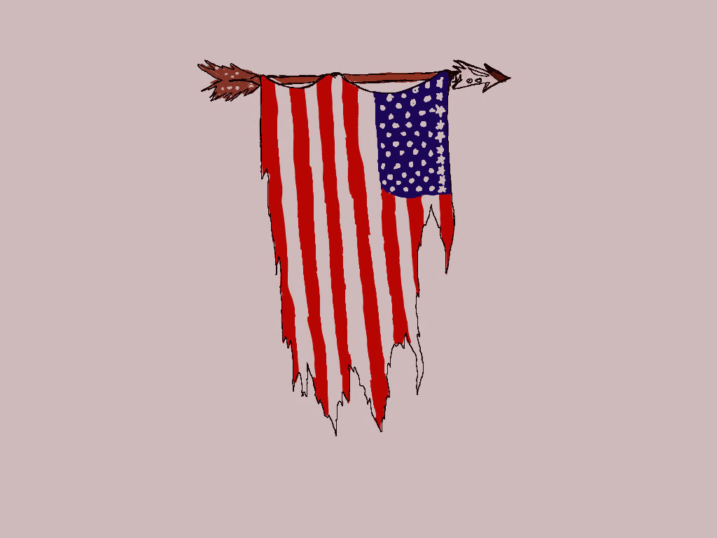 Old Fight America Flag Tattoo Design