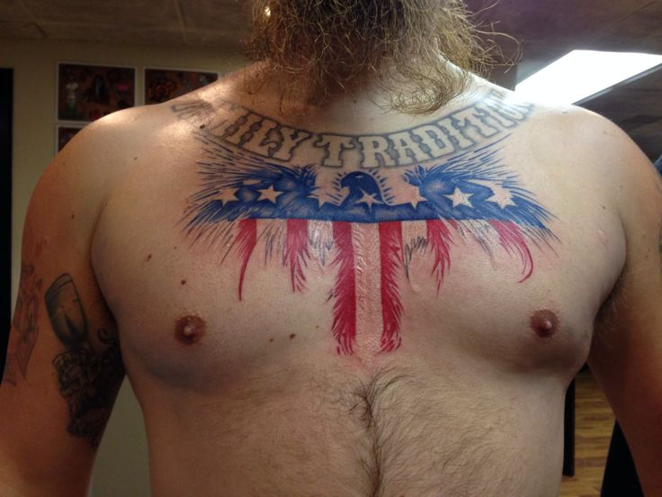 Patriotic American Eagle Tattoo On Chest For Men