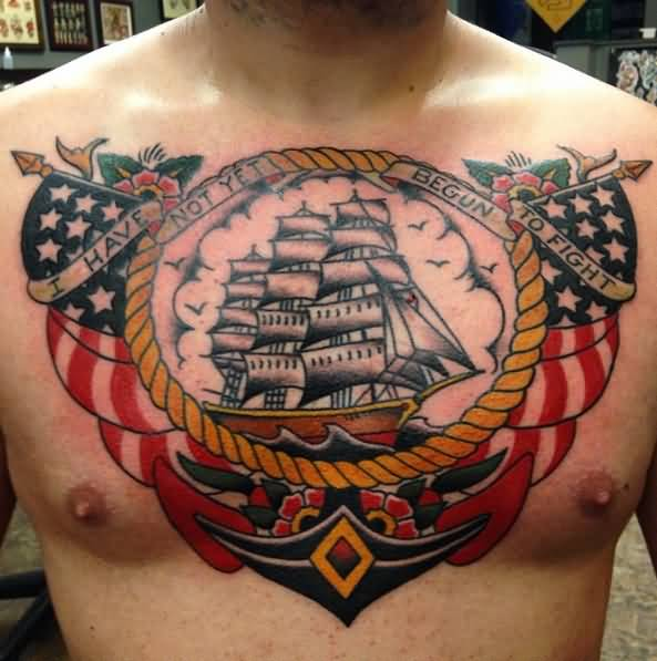 Patriotic Us Navy Theme Old School Tattoo On Chest