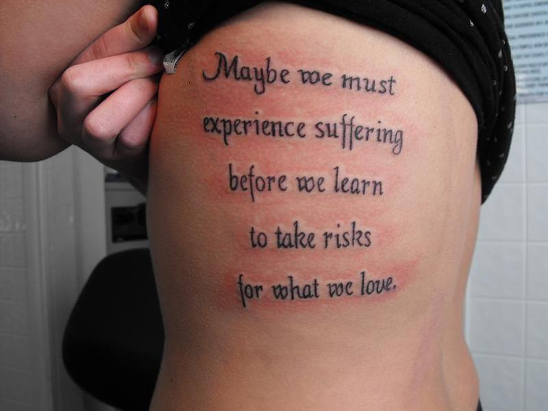 Quote Tattoo On Rib Cage For Girls