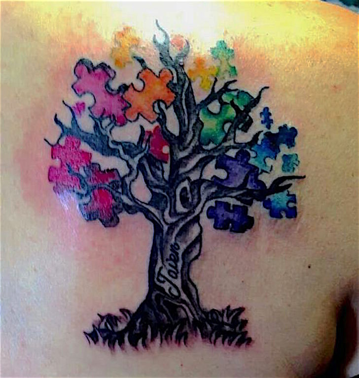 6c28b15ecb952 Rainbow Puzzle Tree Tattoo On Back