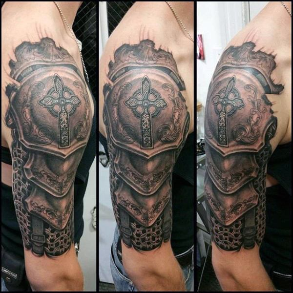 Realistic Half Sleeve Cross Armor Tattoo