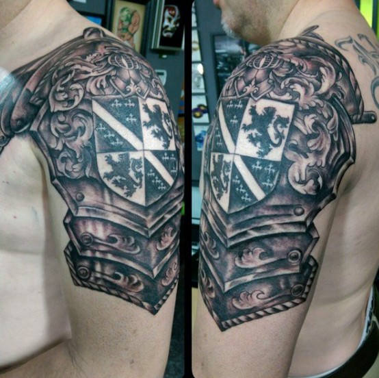 8812bc312 Shield Armor Tattoo On Shoulder For Men