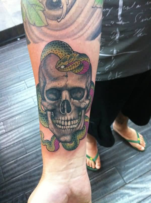 skull and snake tattoo on forearm by ami james. Black Bedroom Furniture Sets. Home Design Ideas