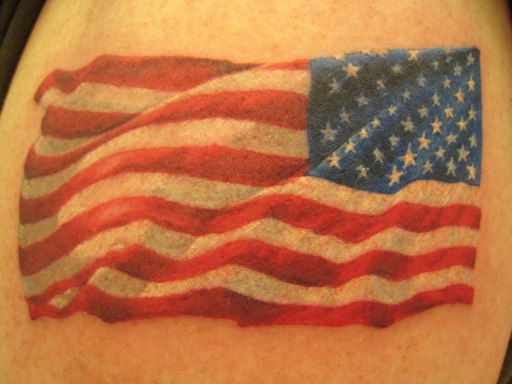 Us flag patch tattoo