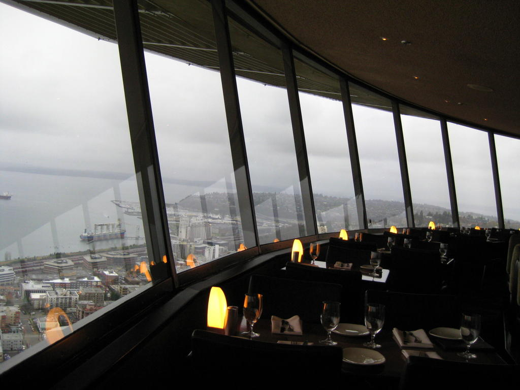 Space Needle Restaurant ViewCloseup Of Space Needle Tower In Seattle. Dinner Seattle Space Needle. Home Design Ideas