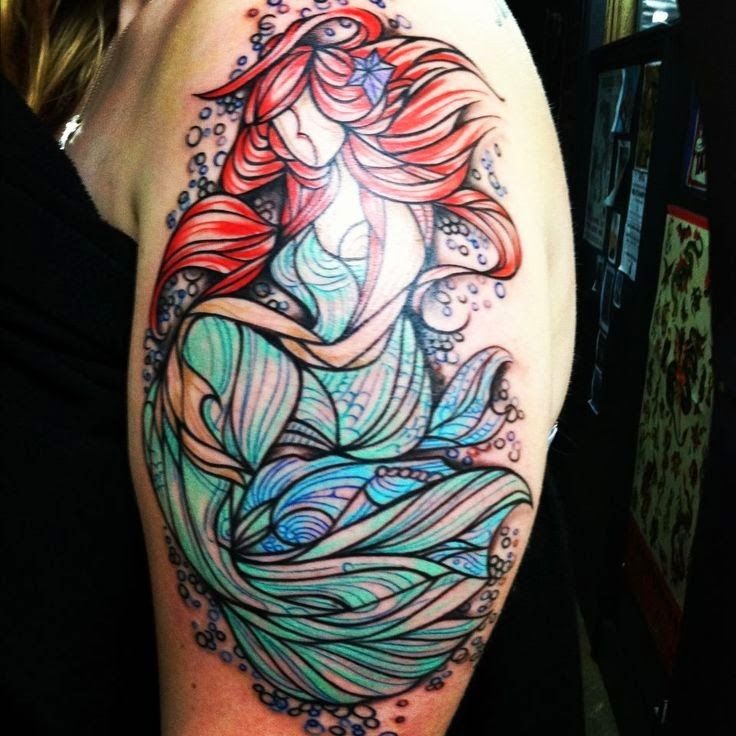 Sleeve Ink Tattoo Arm Color Tattoo Mermaid Saint: Disney Mermaid Tattoo On Left Half Sleeve