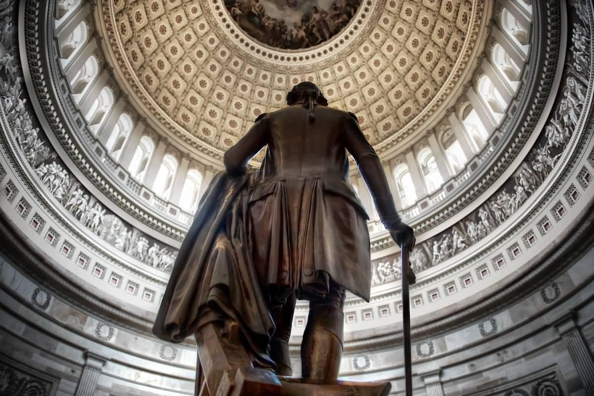Statue Of George Washington Inside The United States Capitol