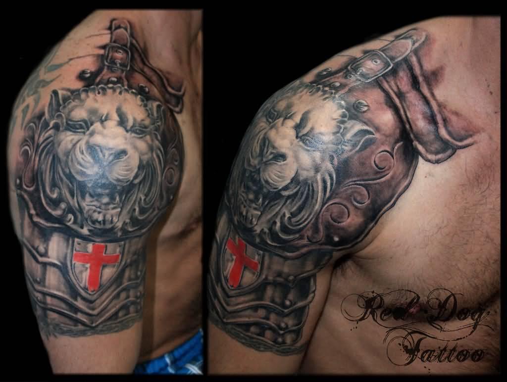 589bbf64c Terrific Lion Armor Half Sleeve Tattoo For Men