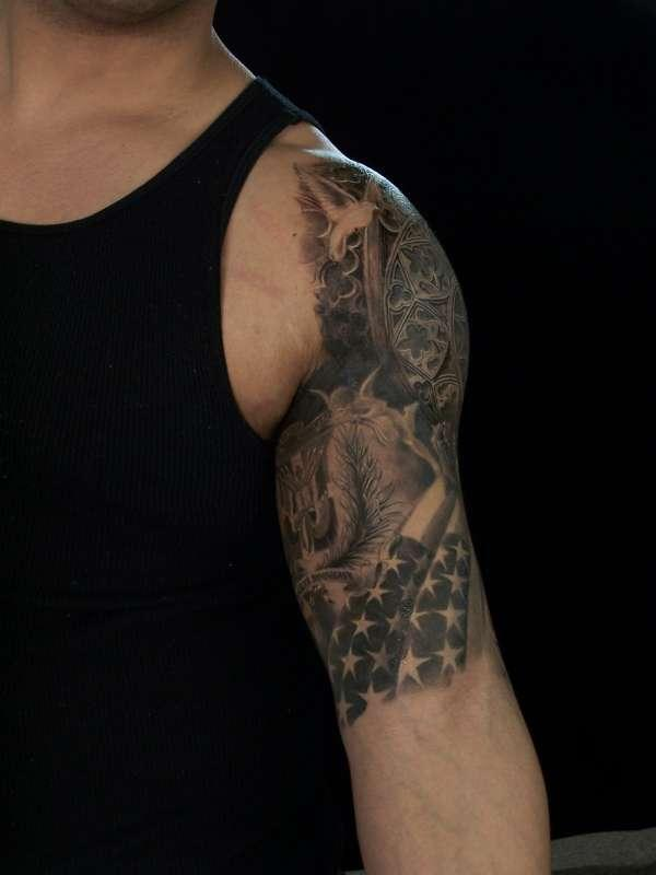 40 Us Flag Tattoos On Shoulder