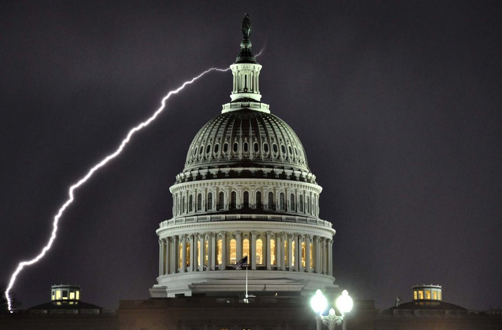 United States Capitol At Night With Lightning
