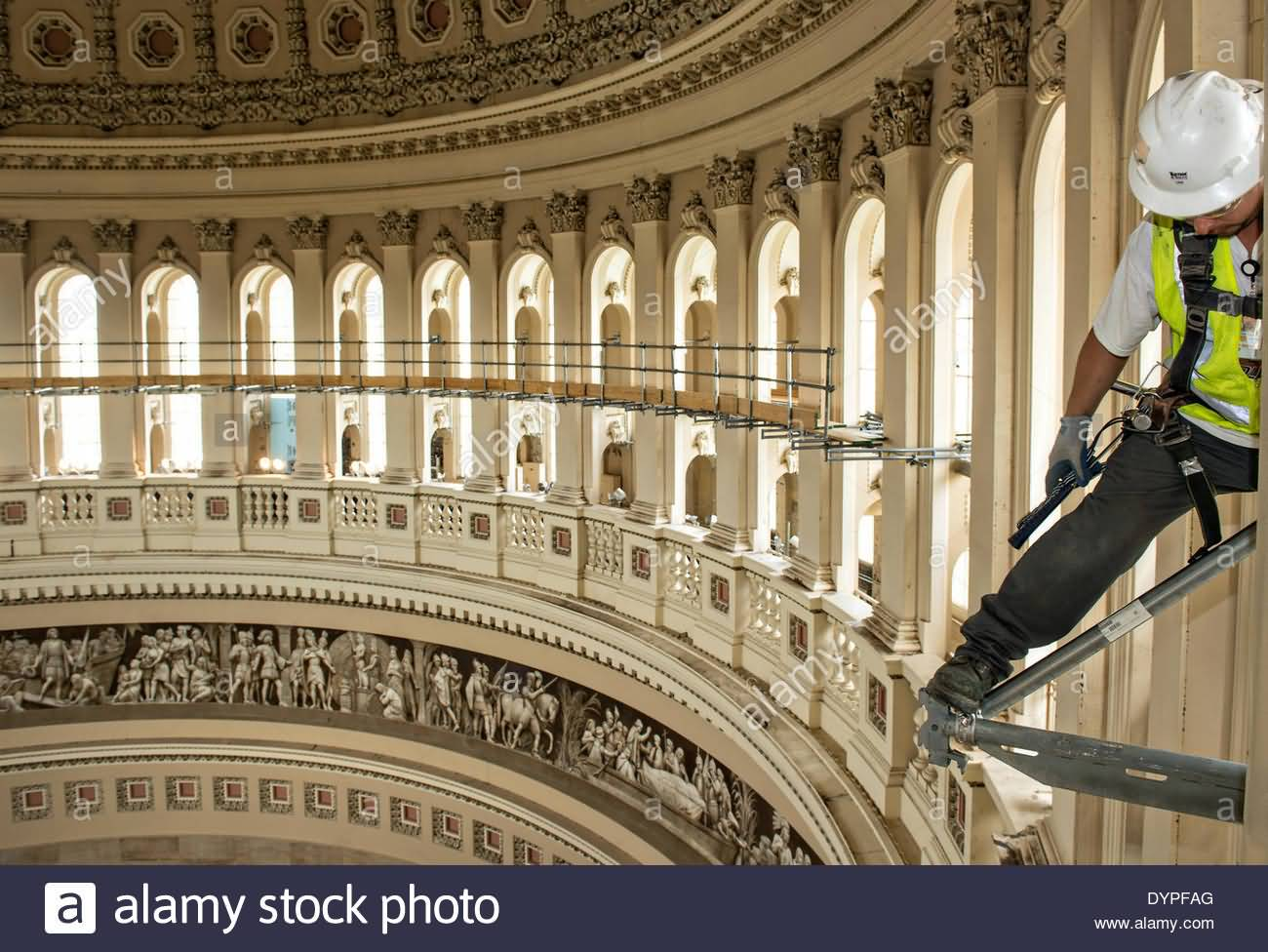 Workers Create A Scaffold During Restoration Inside United States Capitol