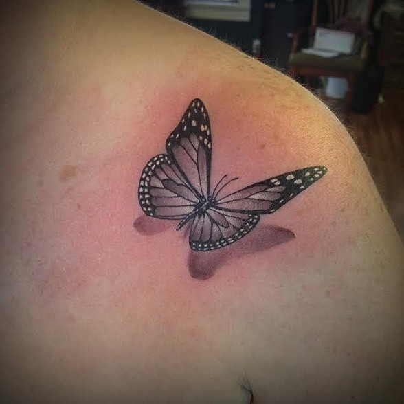 d5314d8ae 3D Black Butterfly Tattoo On Upper Shoulder