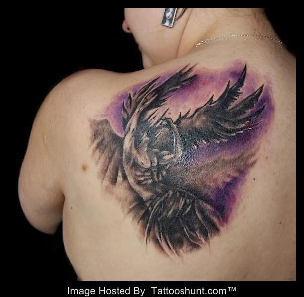 11 angel tattoos on back shoulder for Back shoulder tattoos for women