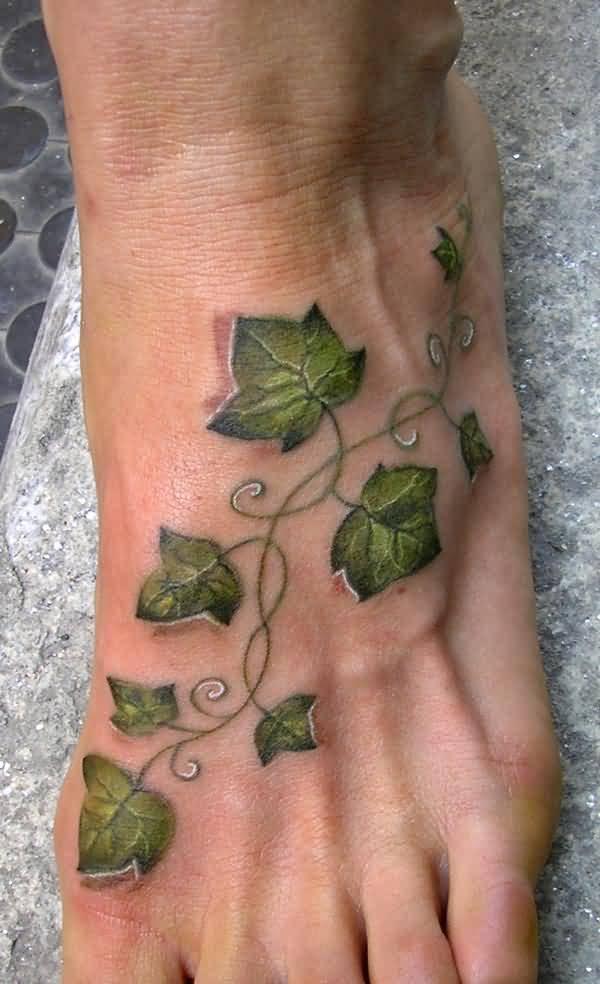 55970dbd473de 3D Ivy Vine Tattoo On Foot For Girls