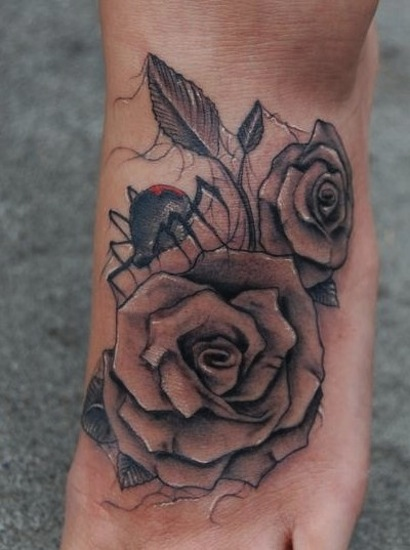 3d roses foot tattoo by big gus hesperia mightylinksfo