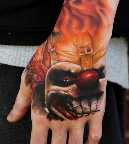 81 hand tattoos for men for Clown tattoos for men