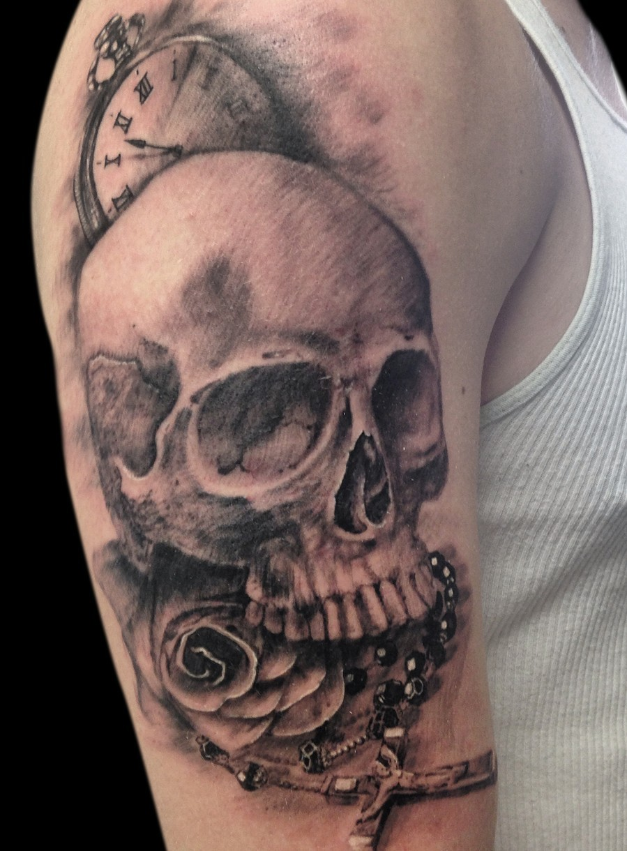 Rosary tattoos for men on arm - 3d Skull Watch Rosary Rose Tattoo On Half Sleeve