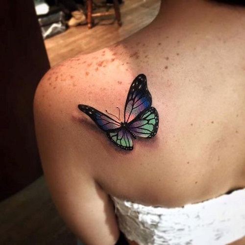 f2c482958 3D Violet And Green 3D Butterfly Tattoo On Back Shoulder