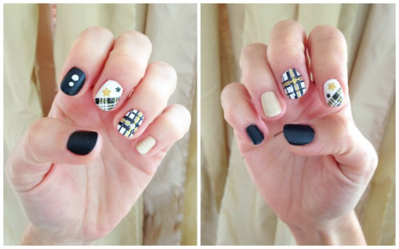 Accent Plaid Print Nail Art Idea