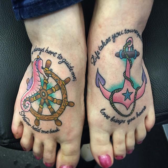 cute anchor foot tattoos  girls
