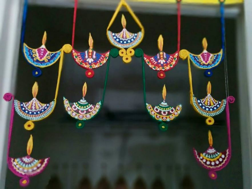 Home Decoration Ideas For Diwali Part - 35: Artificial Hanging Diyas For Diwali Decoration