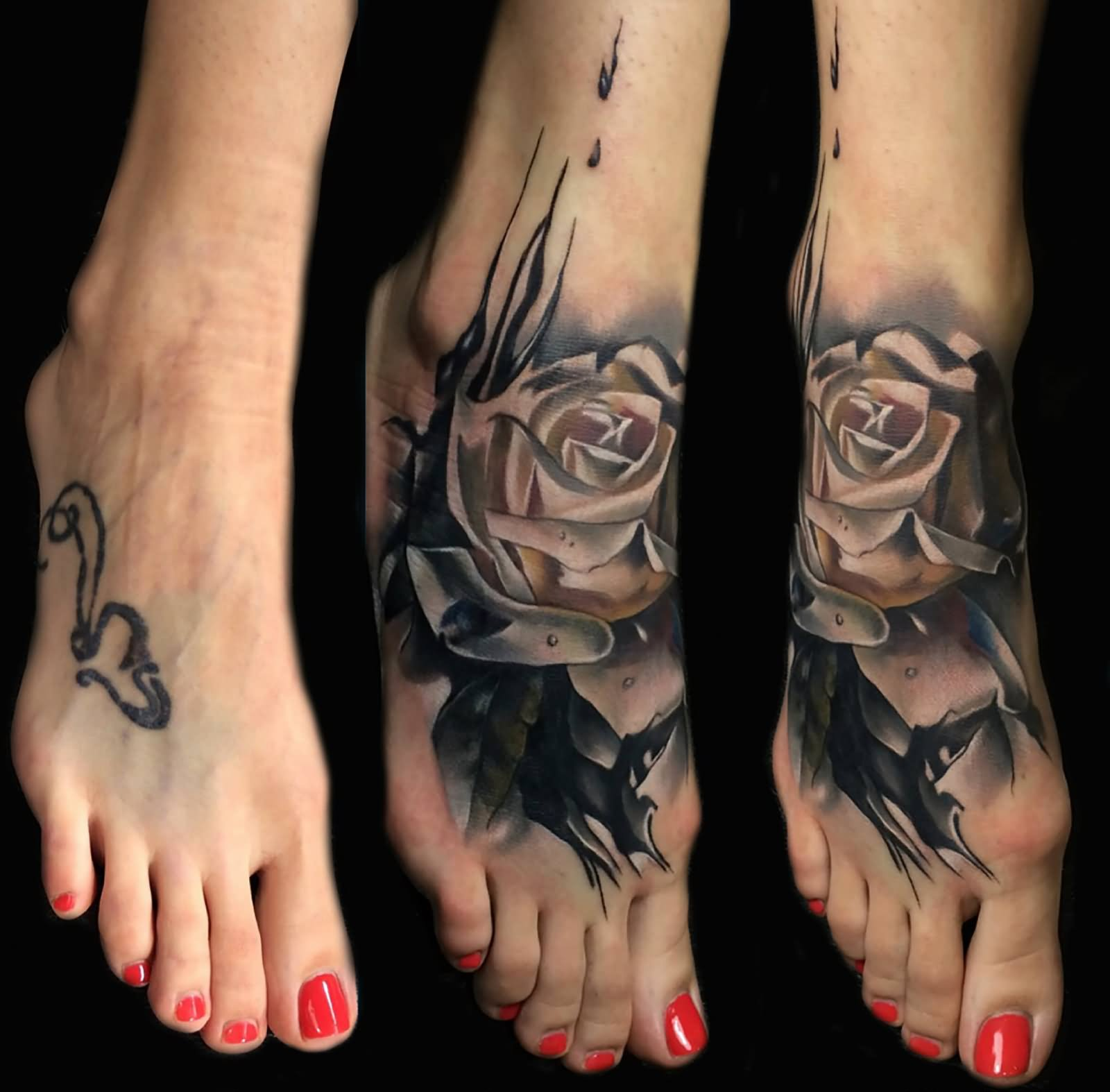 b62281edeb34d Awesome 3D Black Rose Foot Tattoo By Sebastian Nowacki